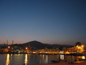 Beautiful harbor of Diano Marina by night