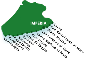 A map of beaches in province of Imperia