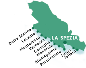 Map of the beaches in La Spezia province
