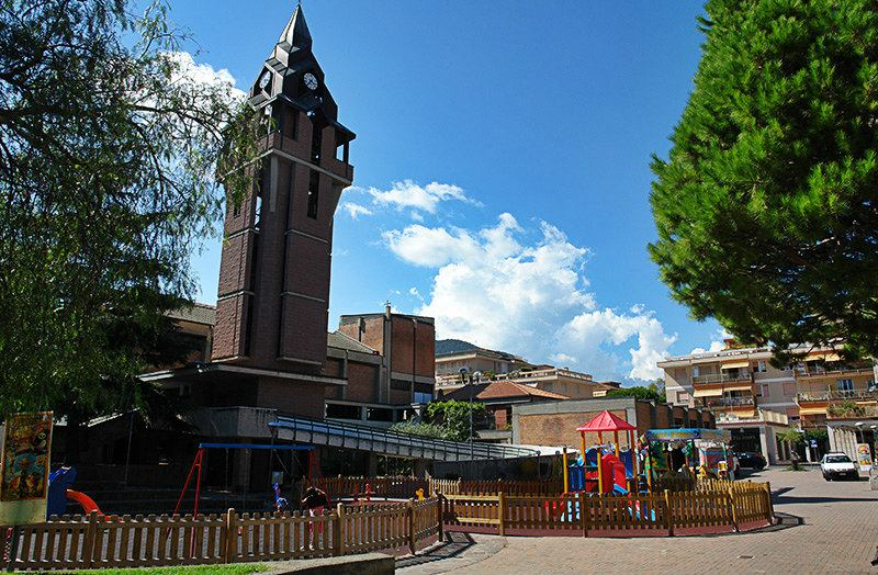 The lovely town center with a church in Andora