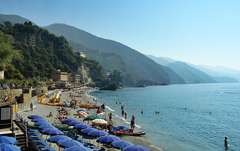 Beautiful sandy beach of Monterosso al Mare in Cinque Terre