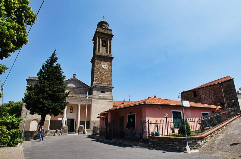 A lovely town center with a church of Diano Arentino in Liguria