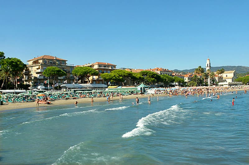 Sandy beach in Diano Marina, Liguria