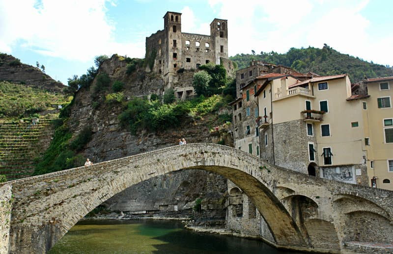 The Nervia bridge is a tourist attraction in Dolceacqua