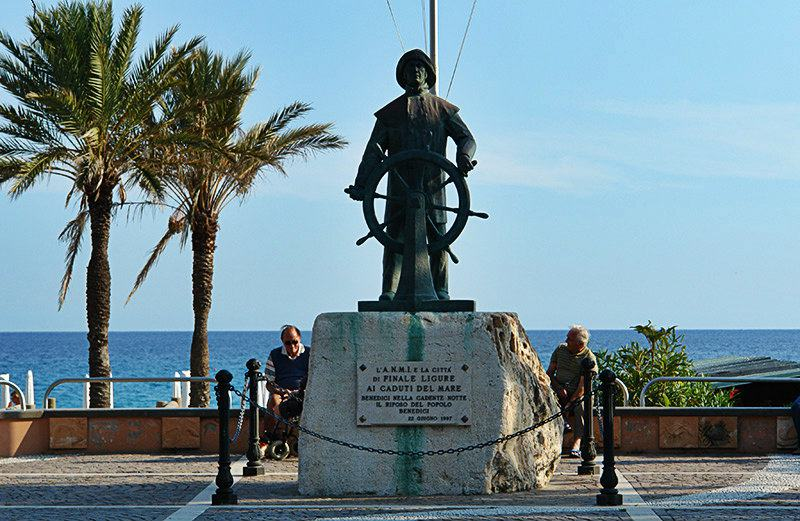 Statue which honors Fishermen in Finale Ligure