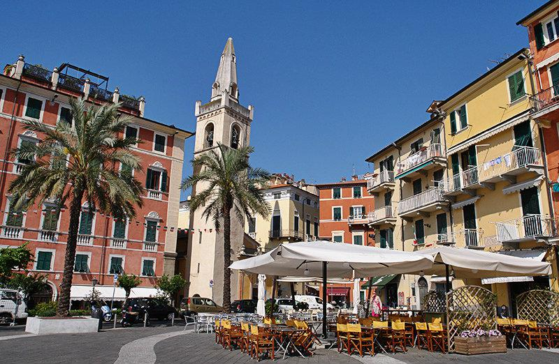 The lovely town center of Lerici in Liguria with palm trees