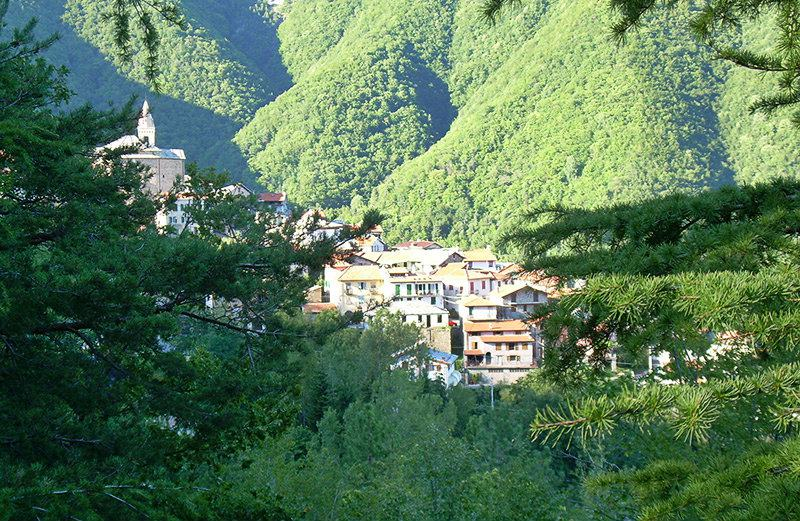 A view over Mendatica town in Liguria
