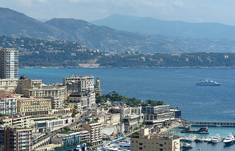 View of the port in Monaco in Cote d'Azur