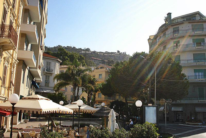 The beloved town center of Ospedaletti in Liguria