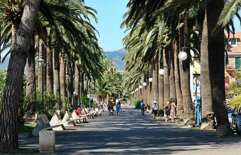 A street with Palm trees in Pietra Ligure