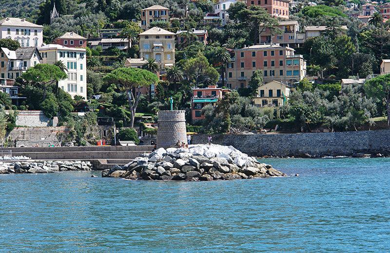 A tower next to the sea in Recco, Liguria