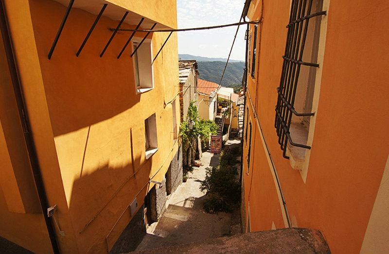 A romantic street in Valloria, Liguria