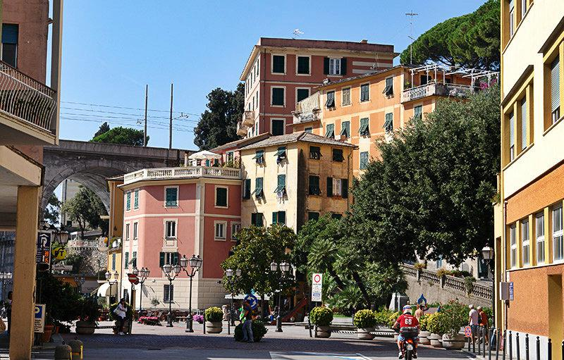The lovely city center of Zoagli in Liguria