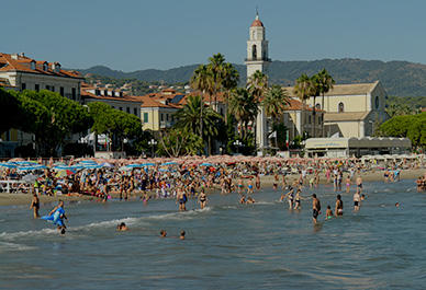 Sandy beach of Diano Marina