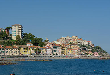View of the historic center of Imperia city