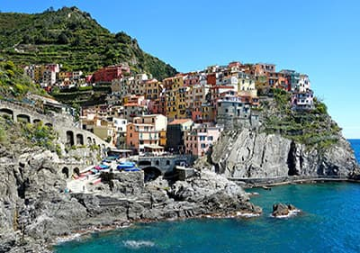 One of the 5 villages of Cinque Terre - Manarola, with colorful houses