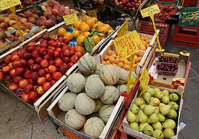 Fresh fruits and vegetables in a ligurian market