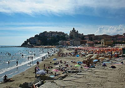 Sandy beach of Imperia in Liguria