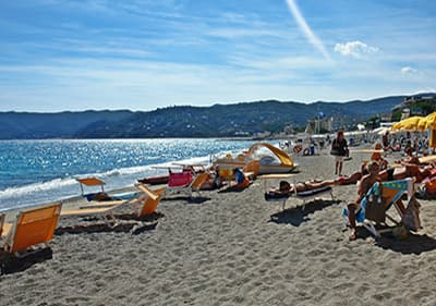 Sandy beach in Spotorno, Liguria