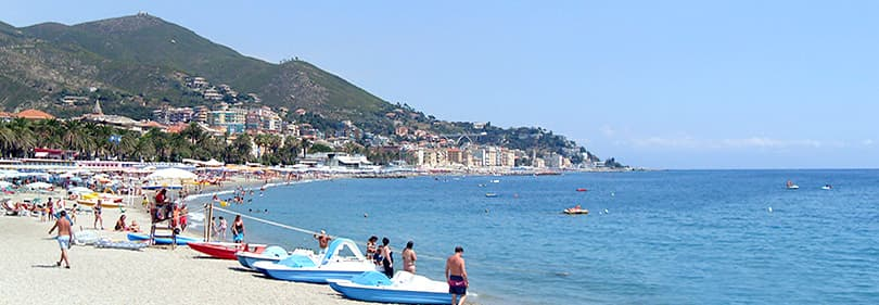 Beach in Varazze, Liguria, Italy