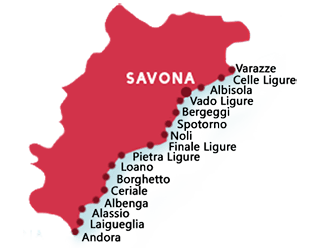 Map from the beaches in province of Savona