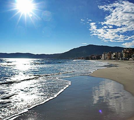 View of Alassio city in Liguria