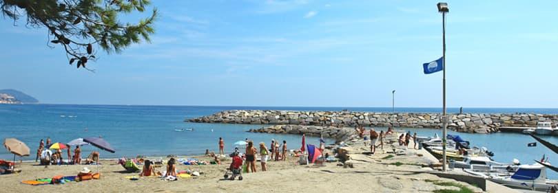 Bandiera Blu beach in San Lorenzo al Mare, Liguria