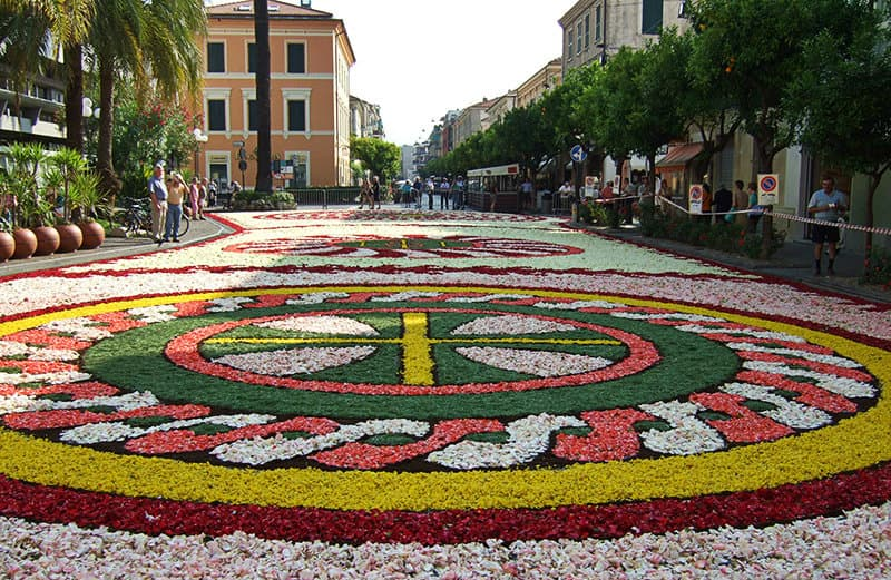 Flower carpet in Diano Marina during a celebration