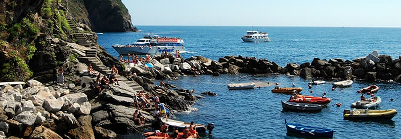 Boats in the Ligurian sea