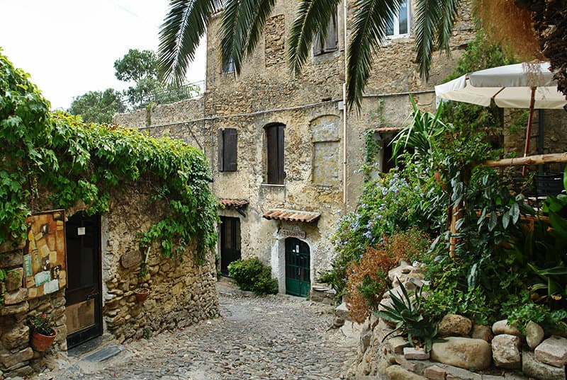 A medieval street with buildings in Bussana Vecchia