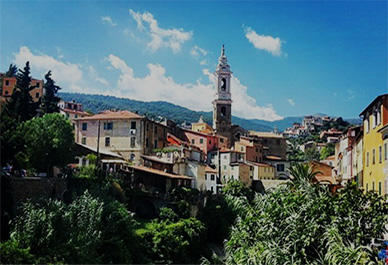 View of the picturesque mountain village of Dolcedo
