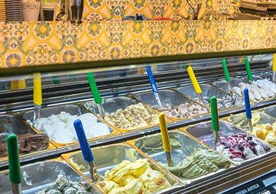Huge variety of fresh italian gelato in a gelateria in Liguria