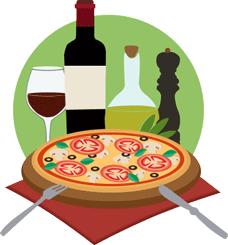 Italian pizza and wine