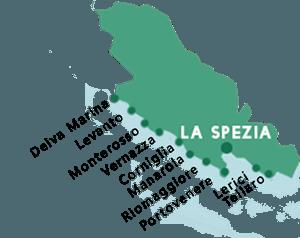 Map of the beaches in La Spezia province