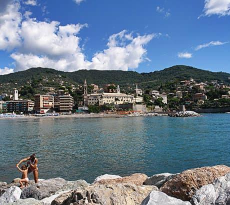View of Recco city in Liguria