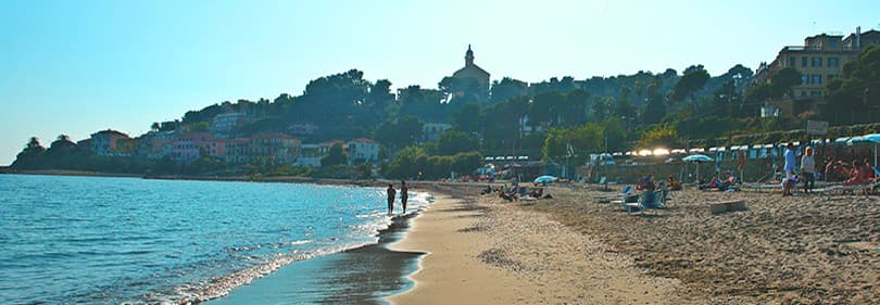 Sandy beach in Bussana, Liguria