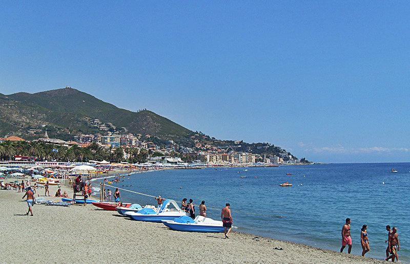 A wonderful view of a sandy beach in Varazze
