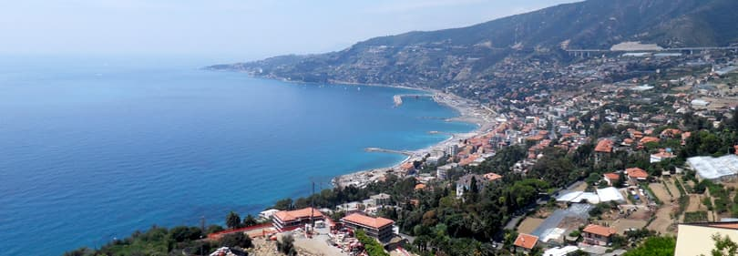 Surf on the coast of Sanremo in Liguria