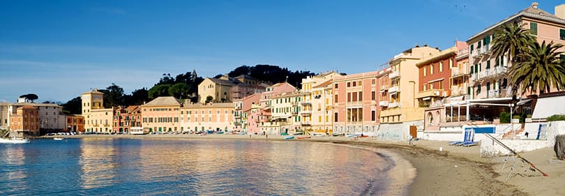 Beach in Sestri Levante, Liguria, Italy