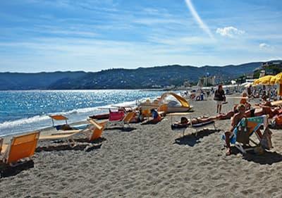 Sandy beach in Spotorno, Liguria