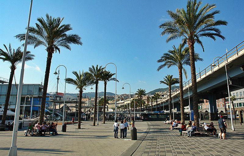 Een straat met palmbomen in Genua