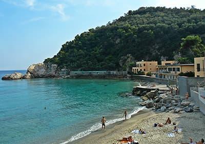 Dog beach in Albisola, Liguria