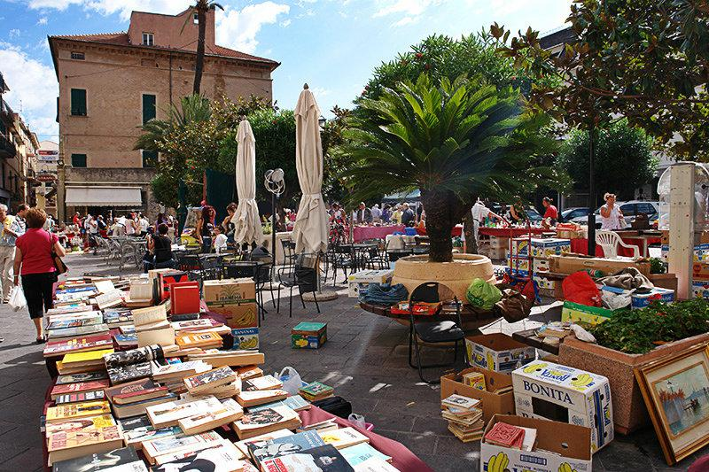 Antique market in the center of Pietra Ligure