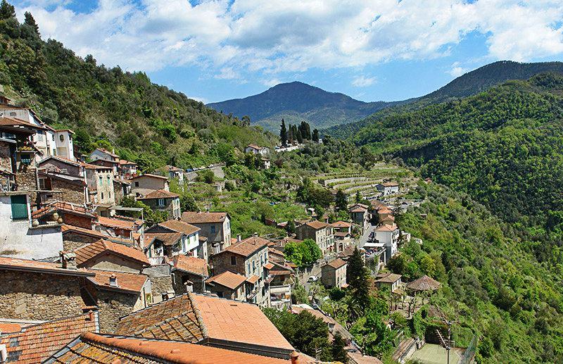 Panoramic view of Apricale, Liguria