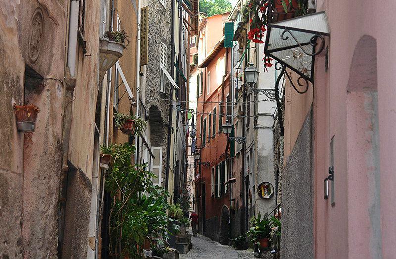 A romantic street in Badalucco, Liguria