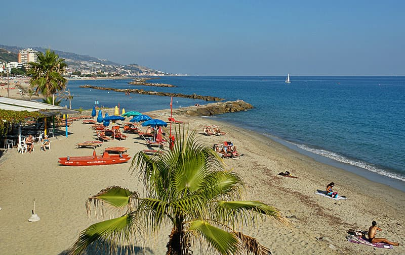 The beautiful sandy beach of Arma di Taggia