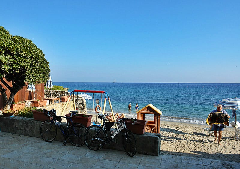 Beautiful view of the sea and Pista Ciclabile bike path in Bussana