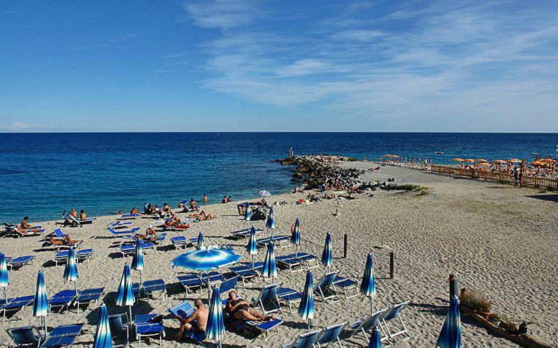 The beautiful sandy beach of Bergeggi
