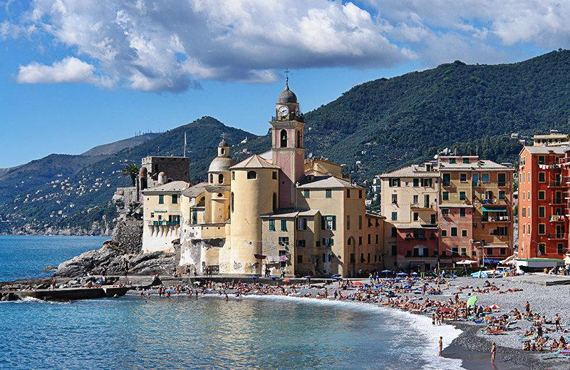 A beautiful view of Camogli and its beach
