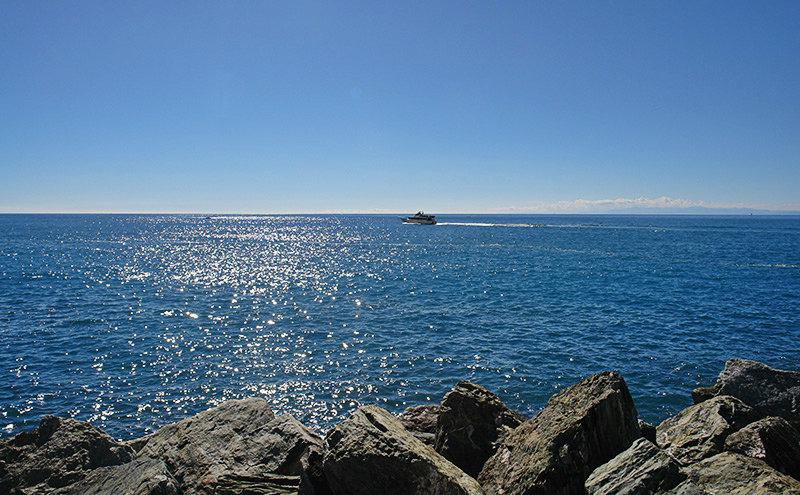 View of a clear blue sea in Camogli